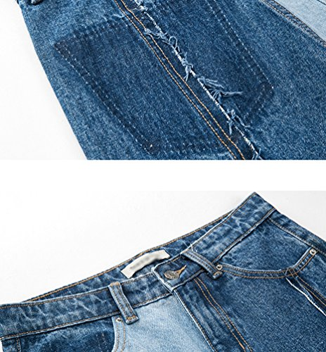 Pantaloni Dritti Contrasto Baggy Denim Zhiyuanan Moda In Blu Jeans Casual Colore A Donna Di EwPHCqxf