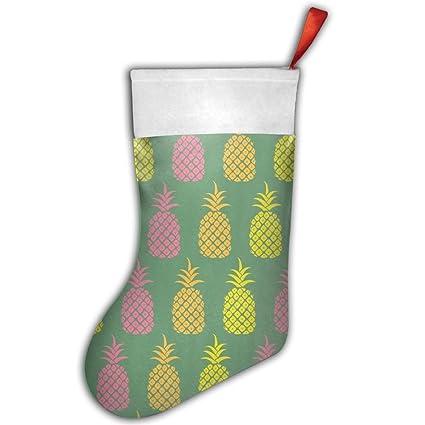jfuxi color piña verde Navidad medias impreso calcetines de Papá Noel personalizada – Bolsa de regalo