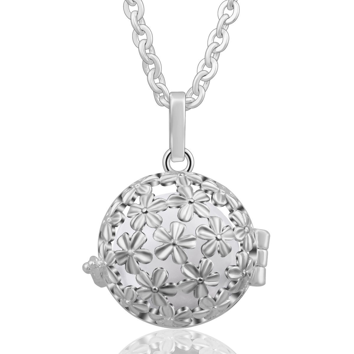 EUDORA Harmony Bola Summer Daisy Flower Angel Chime Caller Musical Ball Pandent Necklace 30'' Chain White