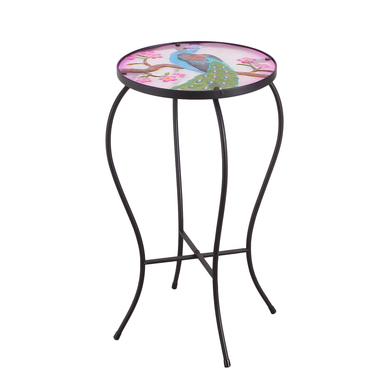 Joveco Hand Painted Style Multicolor Artscape Accent Glass Top Round Side Table Plant Stand - Peacock