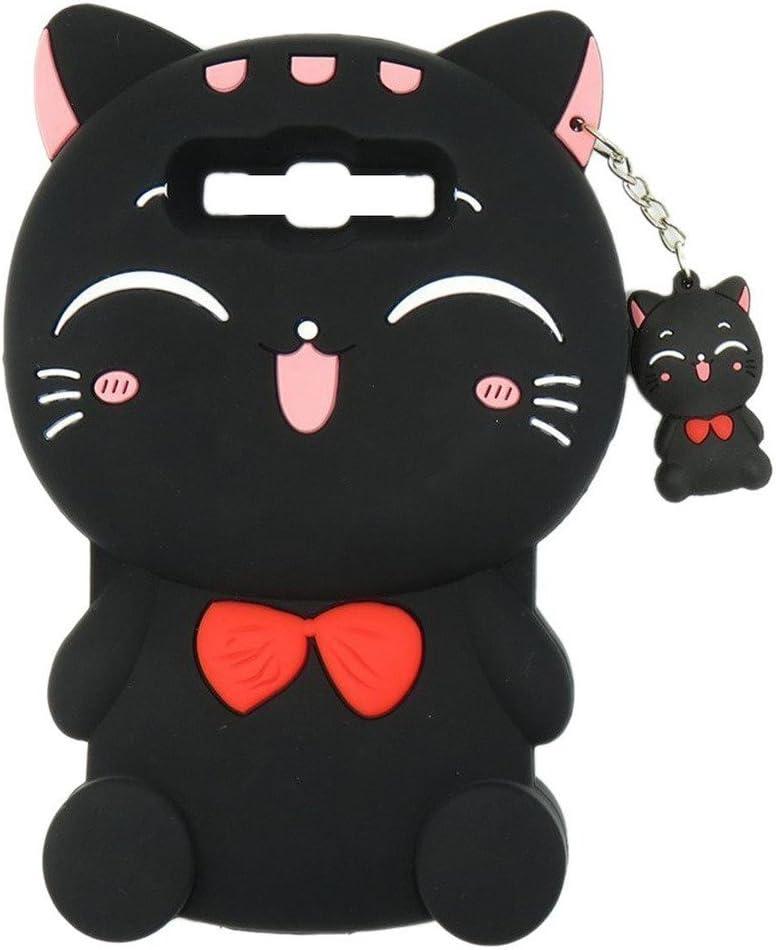 LG Tribute 5 Case Treasure LTE Case LG K7 Case, Maoerdo Cute 3D Cartoon Black Plutus Cat Lucky Fortune Cat Kitty Bow Tie Silicone Rubber Phone Case Cover for LG Tribute 5 / LG Treasure LTE / LG K7