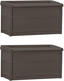 product image for Suncast 50 Gallon Stay Dry Resin Outdoor Deck Storage Box w/Seat, Java (2 Pack)