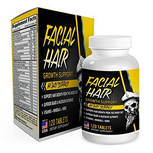 Facial Hair Beard Growth Supplement (2 Month Supply) Beard Vitamins - Beard Supplements - Facial Hair Growth Pills for Men