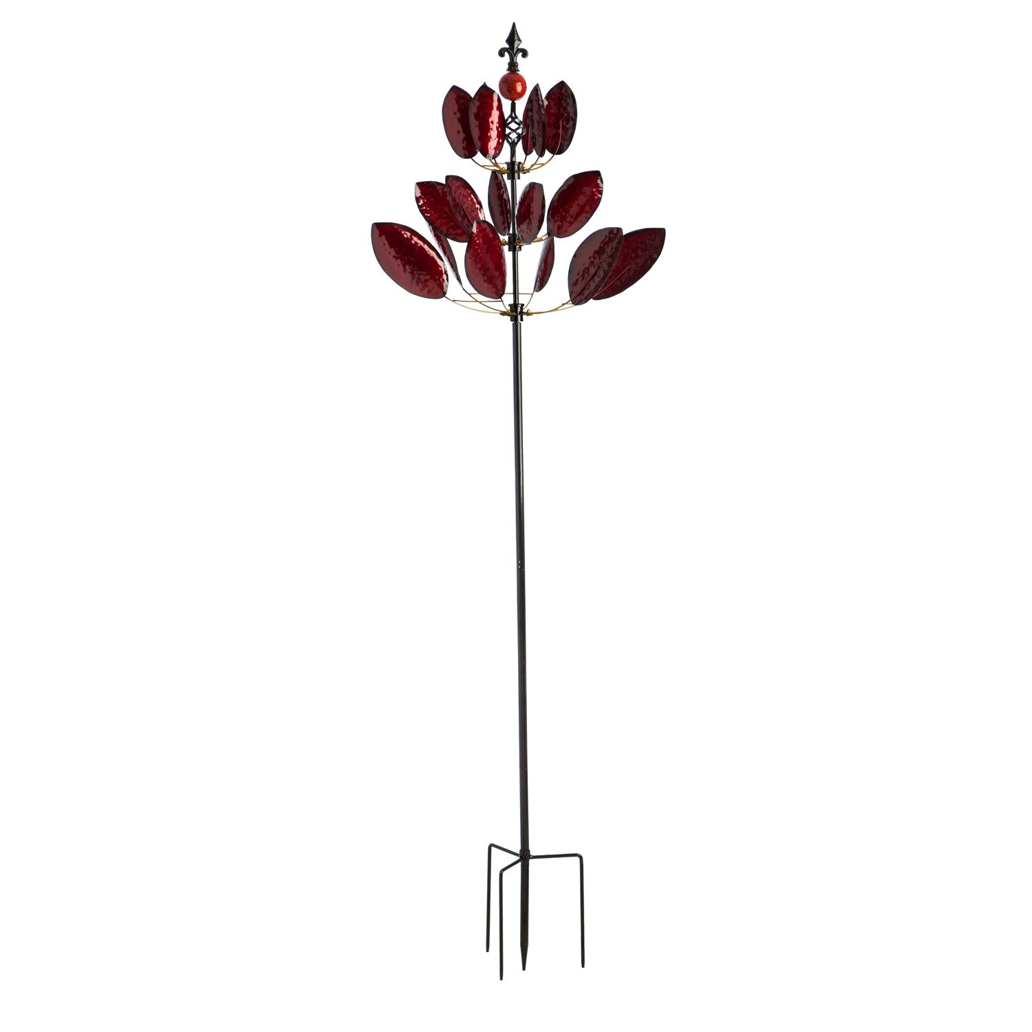 Evergreen 90-inch Red Maple Outdoor Safe Kinetic Wind Spinner Garden Stake