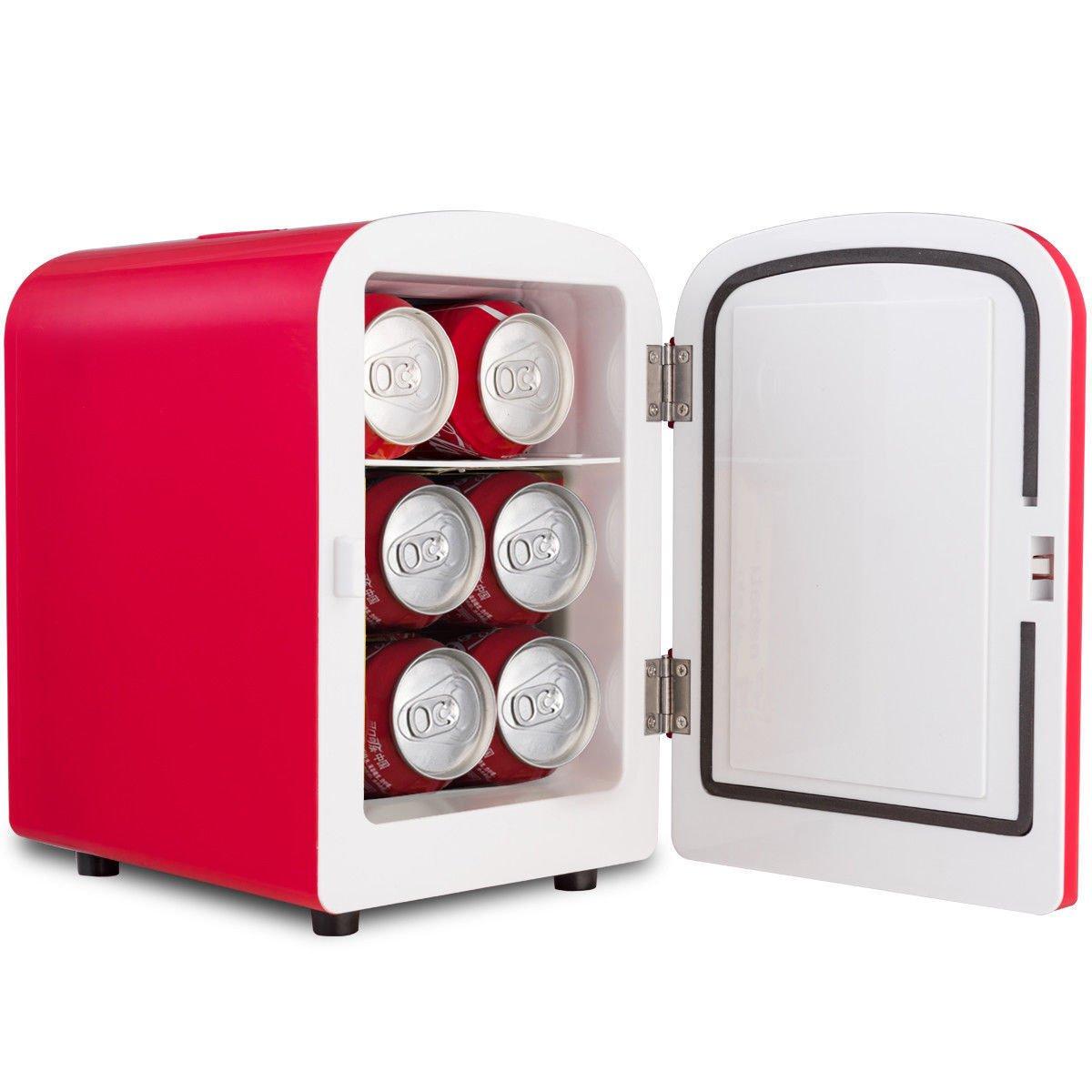 Red Portable Mini Fridge Cooler Warmer Heats 4L Auto Car Boat Home Office Allblessing