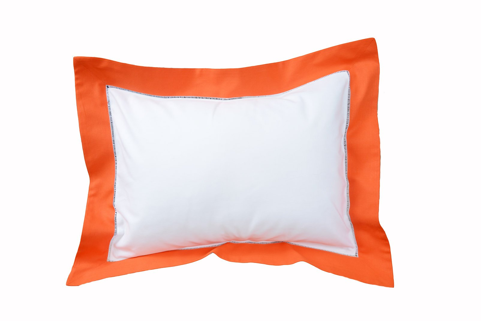 Baby Pillow Sham Color Trimming. 12x16 Baby Sham (Sham Only, No Filler Included). Ramie/Cotton farbics. (White with Orange Trims)