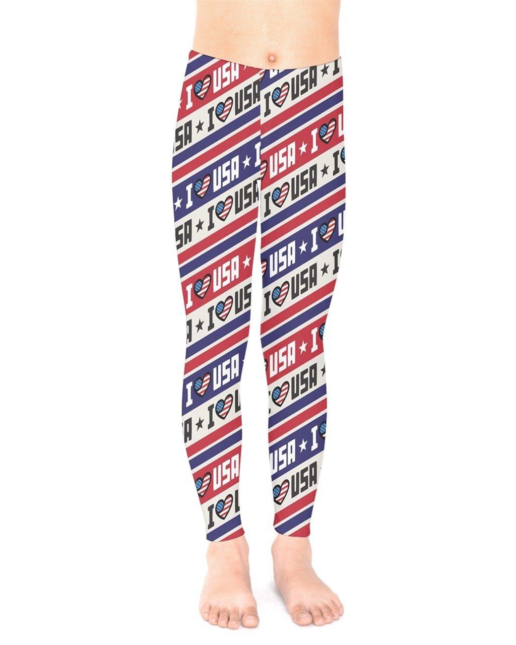 PattyCandy Toddler Unisex Tights I Love USA Patriotic Kids Leggings - 6