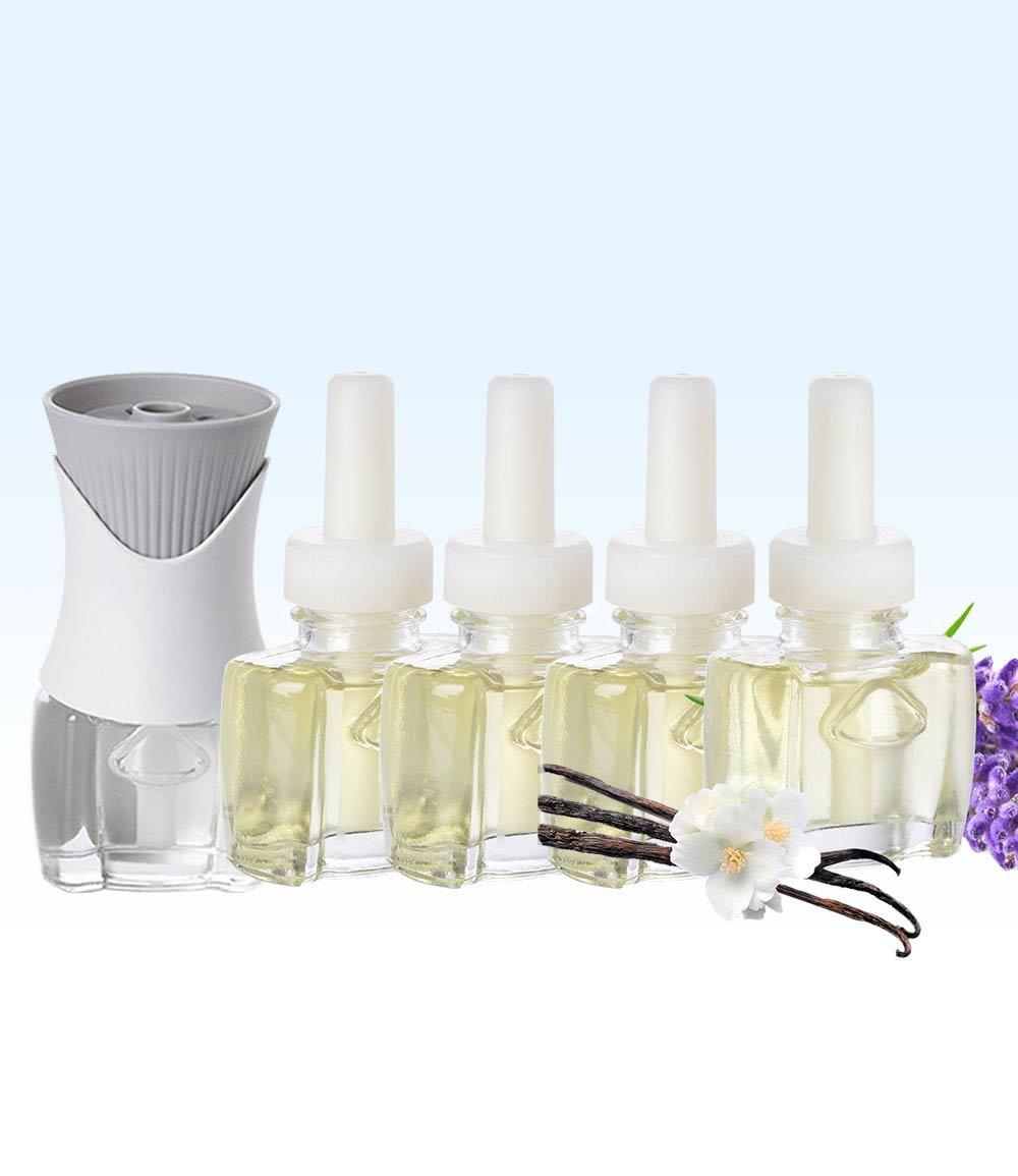 (4 Pack) 4 Scent Fill Vanilla Lavender Plug in Refills and (1) Air Wick PlugIn Warmer
