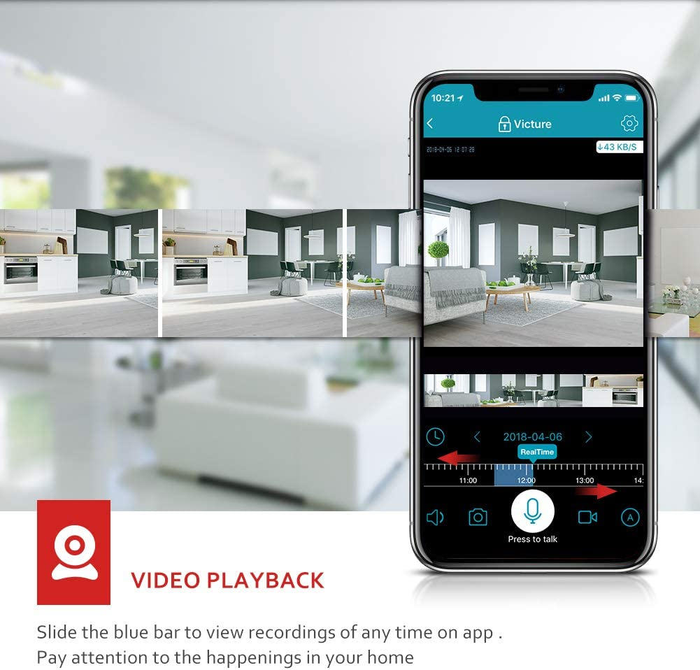 Blanco C/ámara de Cabeza m/óvil de Red WiFi HD C/ámara de vigilancia Monitor de Alarma WiFi al Aire Libre Impermeable al Aire Libre para Exteriores