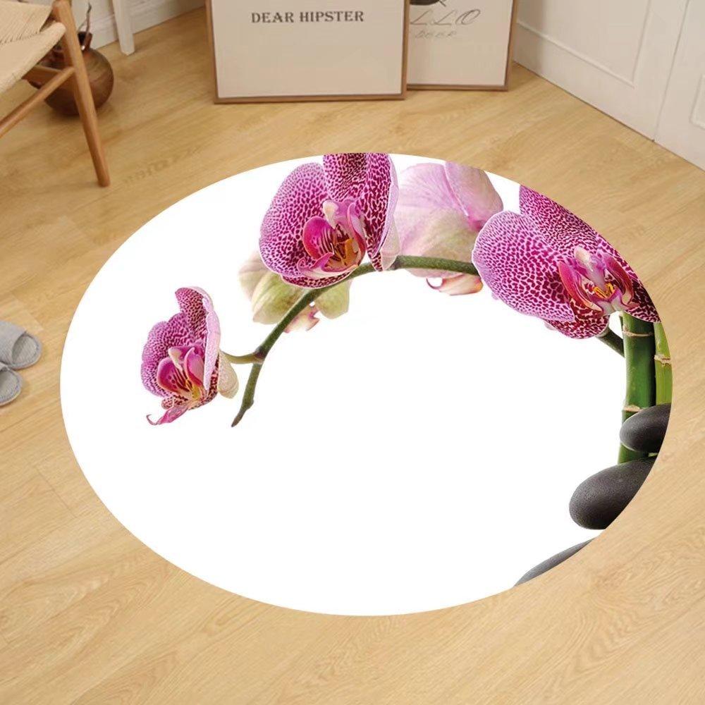 Gzhihine Custom round floor mat Meditation Spa Stones with Orchid and Bamboo Stems Yoga Zen Spiritual Image Bedroom Living Room Dorm Fuchsia Green Grey