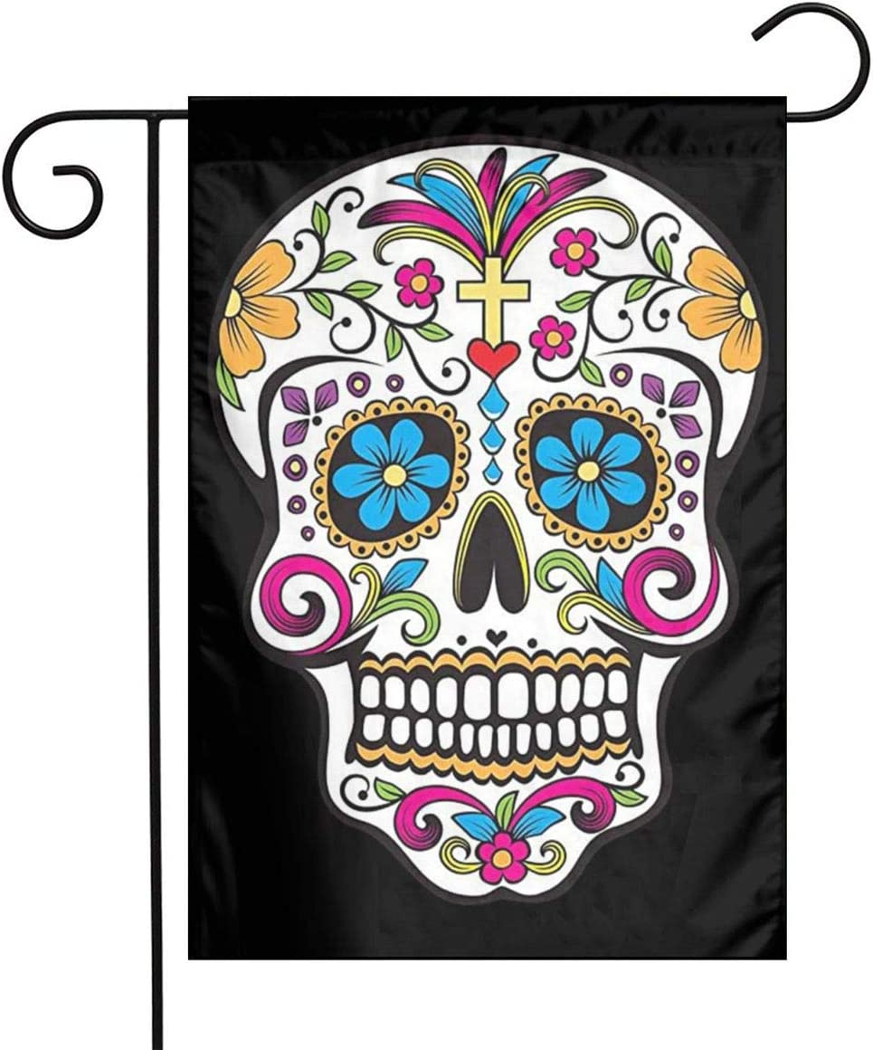 MSGUIDE Sugar Skull Garden Flag Flower House Yard Decoration 12x18 Inch for Outdoor Balcony