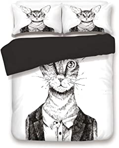 Black 3pc Bedding Set,Hipster Cat Dressed Up in Urban Style Portrait Sketch Vintage Anthropomorphic Decorative King Size Duvet Cover Set,Printed Comforter Cover with 2 Pillowcases for Teens Boys Man