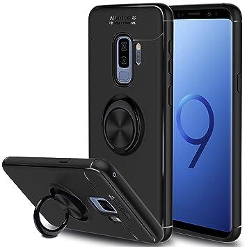 SORAKA Funda para Samsung Galaxy S9 Plus, rotación de 360 Grados, Carcasa de TPU Delgada, imán a Prueba de Golpes, Funda para Soporte de Coche para ...