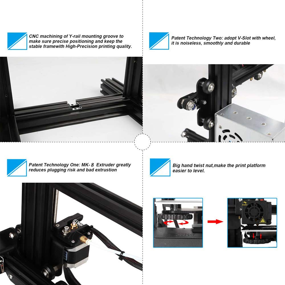 CCTREE Creality Ender 3 Pro 3D Printer with Upgrade Cmagnet Build Surface Plate and MeanWell Power Supply 220x220x250mm