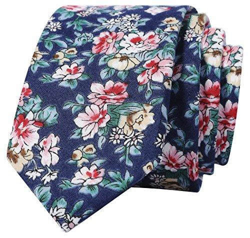 (Kingdom Secret 100% Cotton Handmade Mens Summer Floral Skinny Tie Mens Neat Necktie,  Pink and)