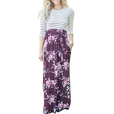 324d447e6 Keepwin Women's Striped Floral Print 3/4 Sleeve Tie Waist Casual Party  Evening Maxi Dress