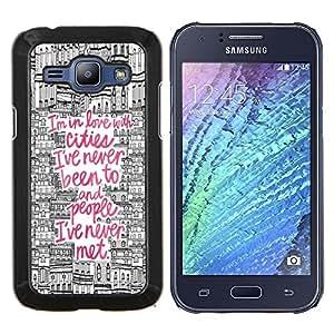 Cita Viajes Ciudad Dibujo Rosa Europa- Metal de aluminio y de plástico duro Caja del teléfono - Negro - Samsung Galaxy J1 / J100