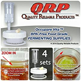 "4 QRP No Messy Overflow No Weights Needed Mold-Proof Mason Jar Fermentation Kits with Exclusive Food Retainer Cups keep food submerged in brine 27 SUPER FAST SHIPPER ~ MOST ORDERS SHIPPED SAME DAY, EVEN ON SATURDAY! (unless handling time is set for more than 1 business day) We understand your health concerns. QRP products were developed to help our director overcome prostate cancer. ALL QRP parts and products are USDA Food Grade BPA-free Compliant and are produced by a reputable food container manufacturer. MORE FOR YOUR MONEY ~ 4 COMPLETE EFFORTLESS MOLD-PROOF FERMENTATION KITS FOR STANDARD WIDE MOUTH MASON JARS (jars not included). Each kit includes a Robust Plastic Cap with Silicone Grommet installed to side to leave a space for labeling, Silicone Seal, EXCLUSIVE PATENT PENDING FOOD RETAINER AERATION CUP, 3-Piece Airlock with Vented Lid, and Rubber Stopper. Save $$$ ... NO COSTLY, BREAKABLE GLASS FERMENTATION WEIGHTS NEEDED! Don't be deceived by competitors' pretty pictures showing full jars of food, but instruct you to leave 4"" space at the top of the jar! QRP'S FOOD RETAINER CUPS allow for FULL Mason Jar Food Fermentation."