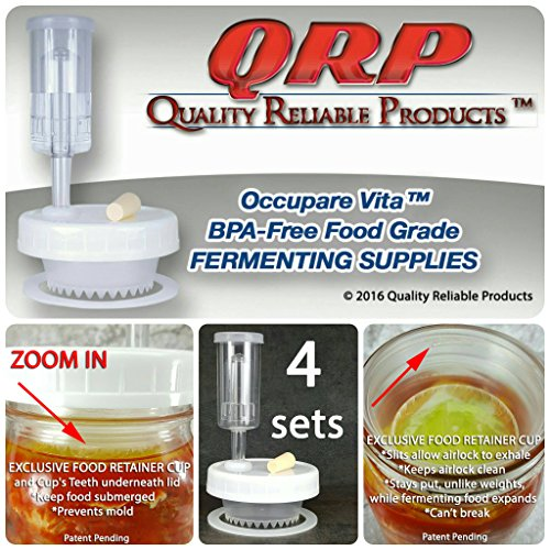 4 QRP No Messy Overflow No Weights Needed Mold-Proof Mason Jar Fermentation Kits with Exclusive Food Retainer Cups keep food submerged in brine (4 WIDE ()