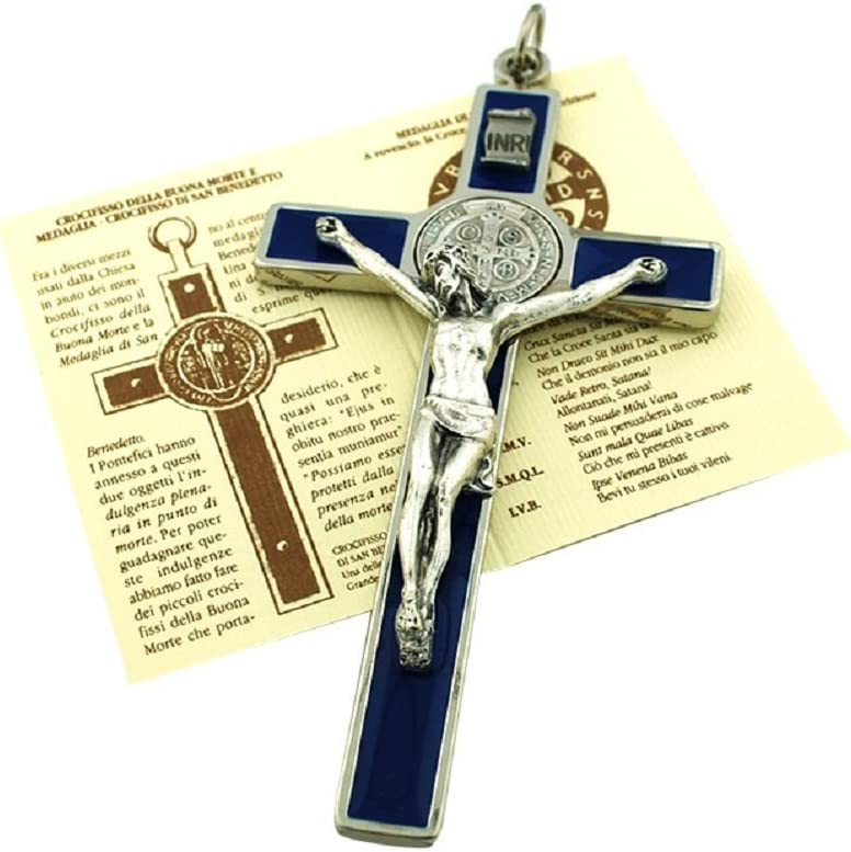Blue Benedict Medal St Benedict Wall Crucifix with Colored Enamel and Booklet Explaining the St