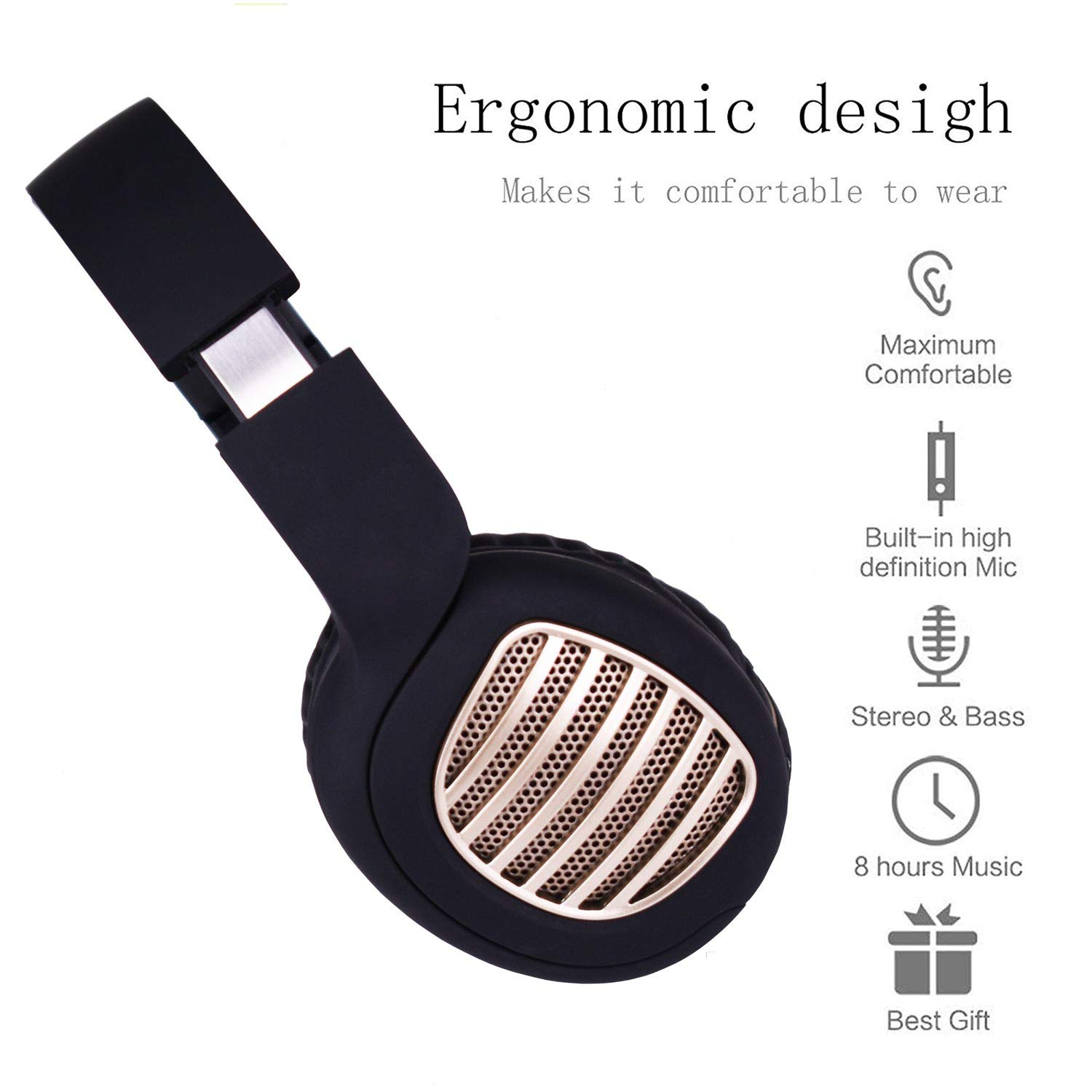 4in1 Bluetooth Headphones, Dogxiong Bluetooth 4.2 Wireless Foldable Headphones Over Ear with Microphone, Soft Memory-Protein Earmuffs, FM Radio Wireless and Wired Headset for PC iPhone iPad Tablet