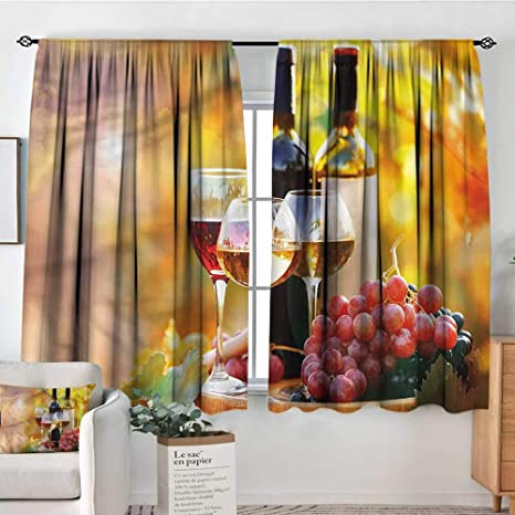 Amazon.com: familytaste Wine,Kitchen Curtains Wine Barrel ...