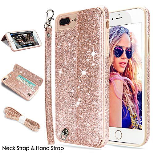 iPhone 8 Plus Case,iPhone 7 Plus Case,CASEOWL iPhone 8 Plus/7 Plus Wallet Case Glitter Leather Flip Card Holder,Wristlet,Neck Strap,Kick-Stand,Shockproof Case for iPhone 8 Plus/7 Plus-Bling Rose Gold