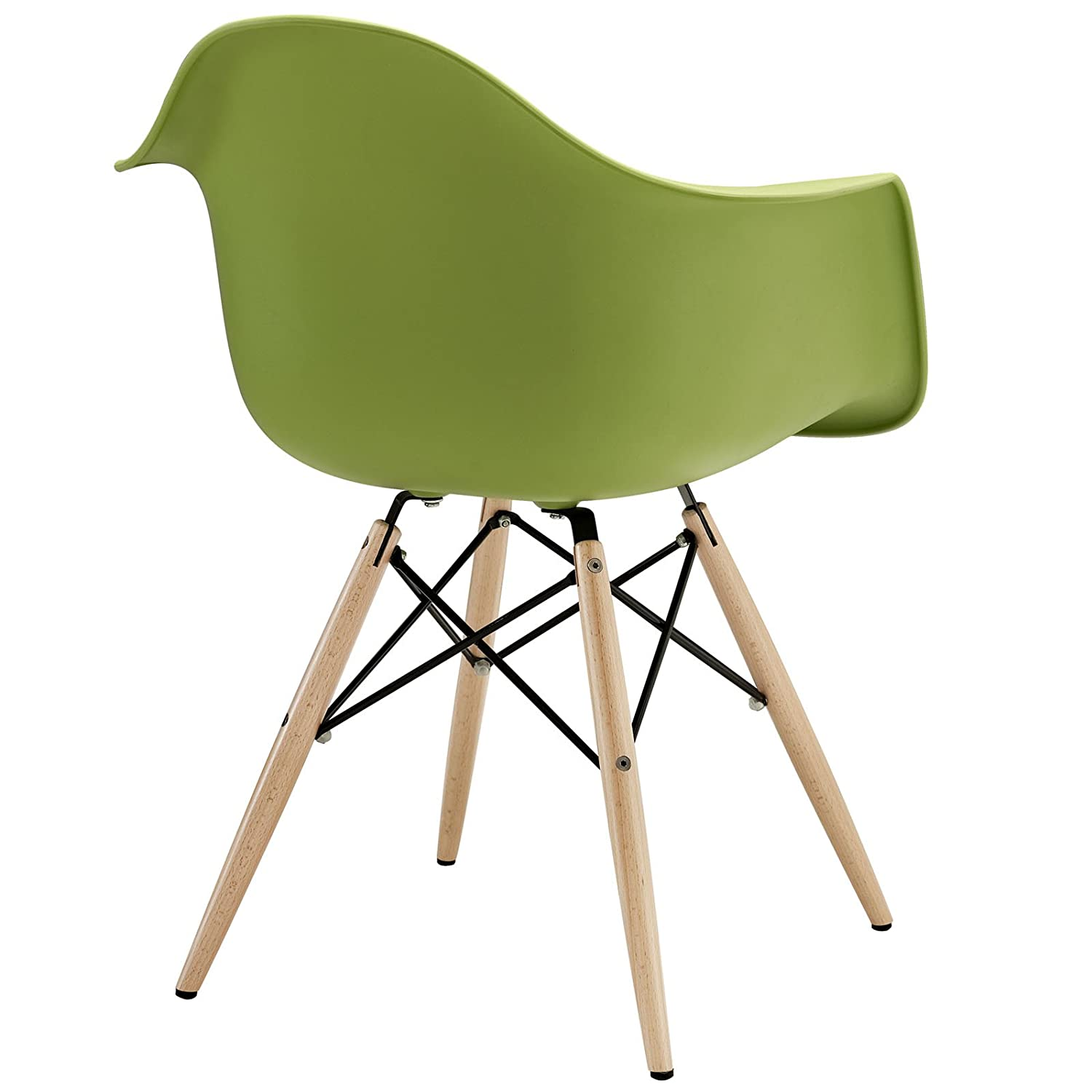 Amazon Modway Wood Pyramid Armchair in Green Chairs