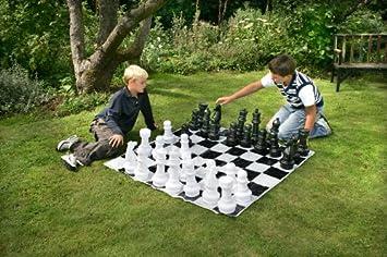 Ajedrez Gigante Estandard (Piezas + Tablero de Lona) | juego de mesa gigante: Amazon.es: Juguetes y juegos