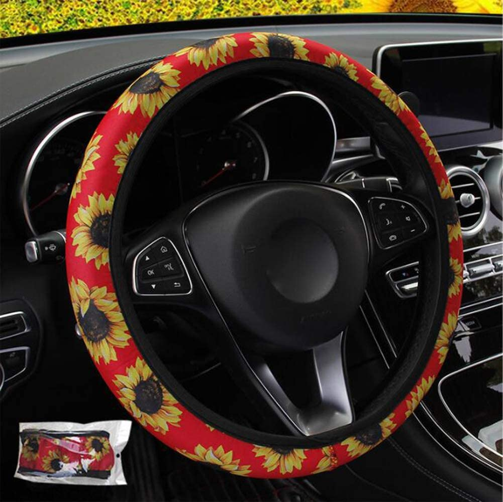 i-Will Sunflower Car Interior D/écor Accessories 15 Inch Universal Steering Wheel Cover Anti-Slip Sweat-Absorption Fabric Stretch-On Wheel Protector Red