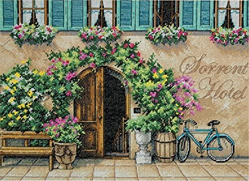 B003UPMDXY DIMENSIONS Counted Cross Stitch Kit, Sorrento Hotel, 14 Count Beige Aida, 14'' x 10'' 61z0G4tRNgL