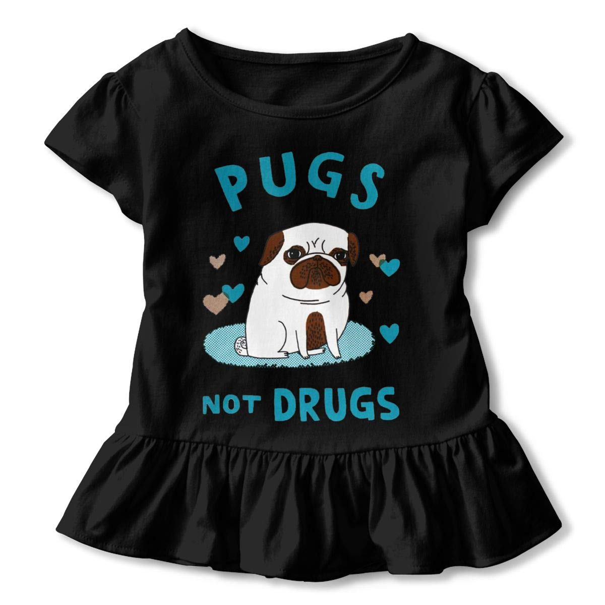 Pugs Not Drugs T-Shirt Little Baby Girls Flounced T Shirts Fashion Graphic T-Shirt for 2-6T Baby Girls