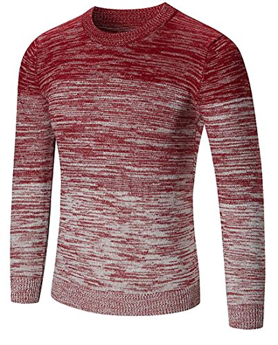 (GAGA Men's Casual Loose Classic Long-Sleeved Tie-Dye Printing Knit Sweater Red M)