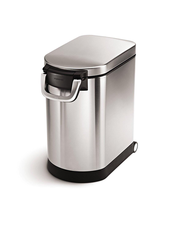 simplehuman 25 Liter, 27lb / 12.2 kg Medium Pet Food Storage Can, Brushed Stainless Steel by simplehuman