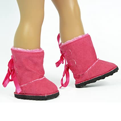 Pink Suede Winter Boots For Dolls   Includes Free Storage Shoe Box  18 Inch  Dolls