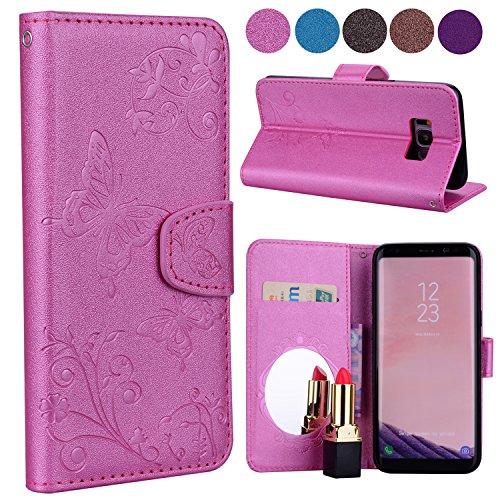para Rose Leeook S8 UK Embossé Samsung Fleur Lee02946X3 Zapatillas Galaxy Embossé Fleur Plus Papillon Papillon de mujer voleibol Noir Cwp4wRqX