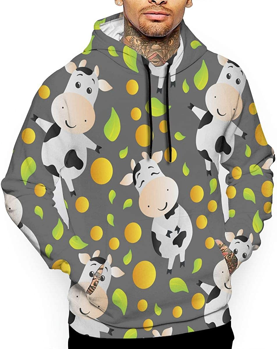 Cartoon Cute Cow T-Shirt Hooded with A Pocket Rope Hat Customization Fashion Novelty 3D Mens
