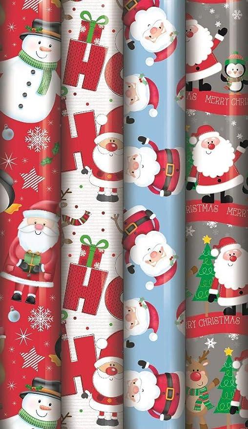 Concept4u 4 X 5m Cute Christmas Gift Wrap Wrapping Paper Rolls Present Festive Kids Fun Birthday Santa Workshop Snowman Penguin Amazon Co Uk Kitchen Home