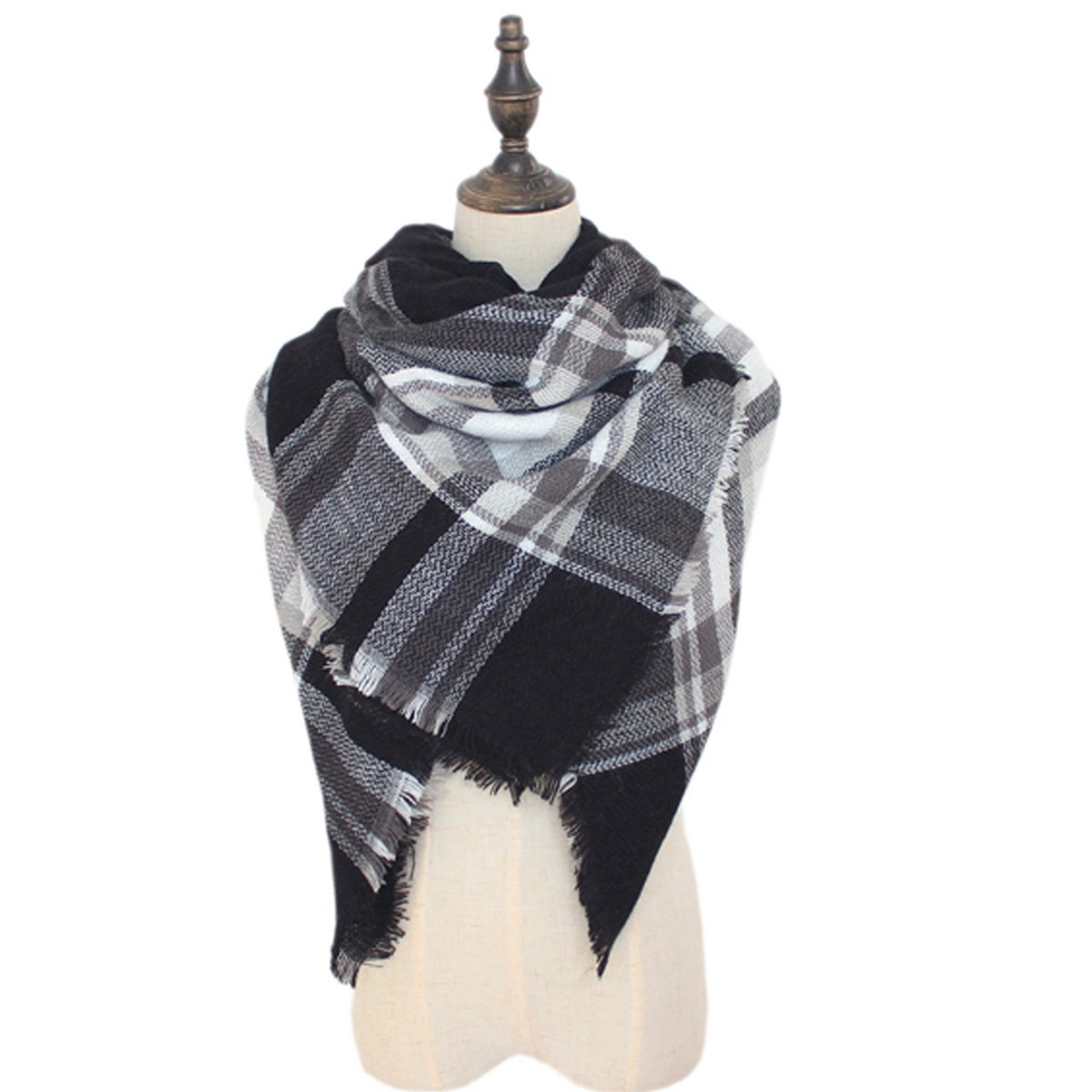 Spring fever Women's Fashion Cozy Tartan Scarf Wrap Warm Shawl Pashmina SULS0114A46FSSF