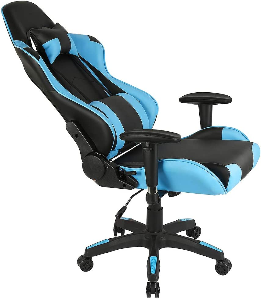 Schwarz+ Blau MUPAI Gaming Stuhl B/ürostuhl Schreibtischstuhl mit Armlehne Gamer Stuhl Drehstuhl H/öhenverstellbarer Gaming Sessel PC Stuhl Ergonomisches Chefsessel mit Fu/ßst/ützen
