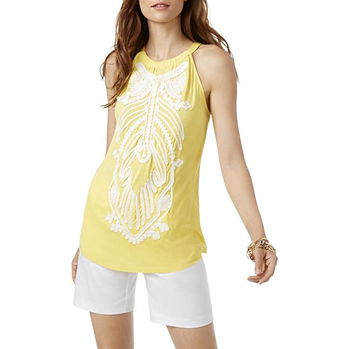 a55b3dfbbdbe4 Image Unavailable. Image not available for. Color  INC  70 Womens New 1768 Yellow  Embellished Sleeveless Halter Casual Top XS ...