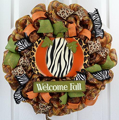 Pumpkin Decorations | Animal Print Thanksgiving Fall Halloween Front Door Mesh Wreath