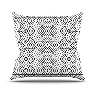 """Kess InHouse Pom Graphic Design """"Tribal Expression"""" Black White Outdoor Throw Pillow, 16 by 16-Inch"""