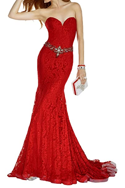 7646fdbb61d2 Gorgeous Novia Rojo Largo Encaje caliente sirena Prom Vestido de ...