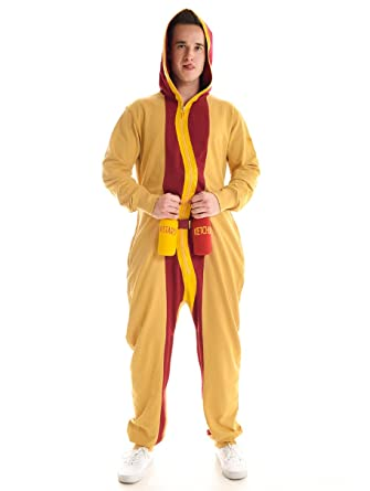 mens hotdog jumpsuit hot dog halloween costume for men small - Amazon Halloween Costumes Men