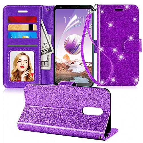 LG Stylo 4 Case,LG Stylo 4 Plus Case,LG Q Stylus Case W[Wrist Strap][Screen Protector][Kickstand][Credit Card Slots],PU Leather Bling Glitter Flip Wallet Case Cover for Girls Women,Purple