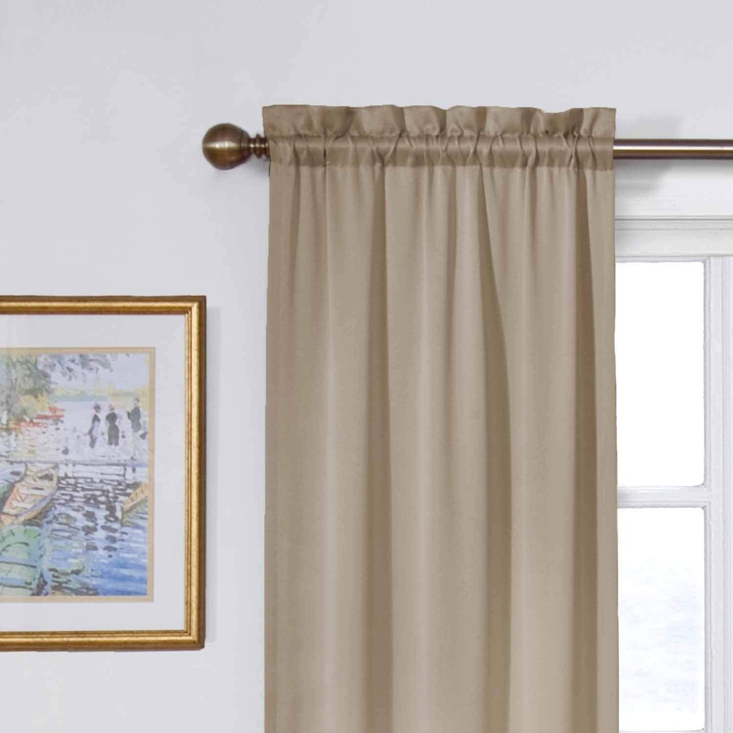 Black ECLIPSE Room Darkening Curtains for Bedroom Solid Thermapanel 54 x 54 Thermal Insulated Single Panel Rod Pocket Light Blocking Curtains for Living Room