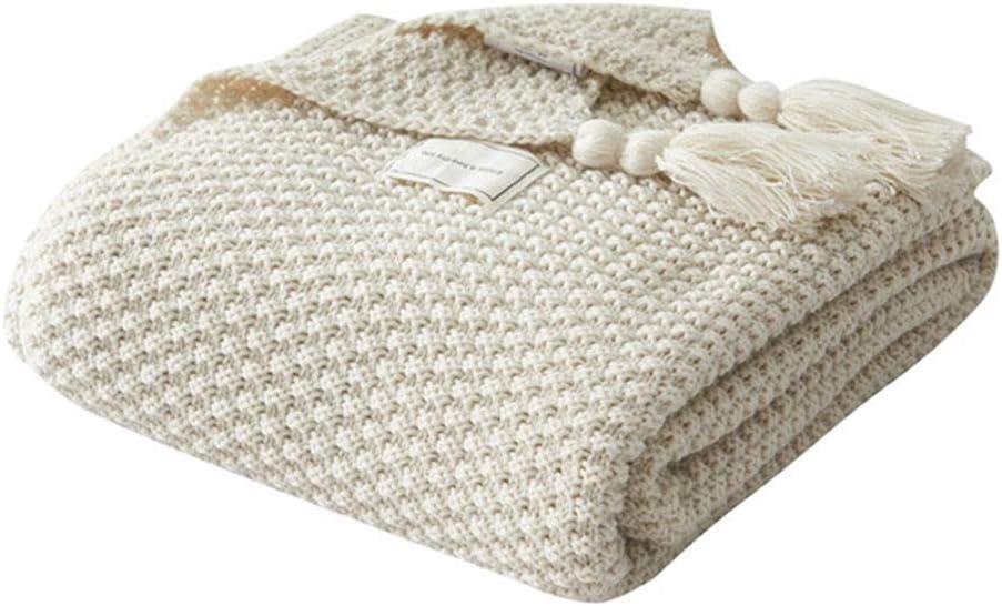 UnvfRg Nordic - Manta de punto hecha a mano para sofá o manta de ropa de cama, beige, 130x170cm