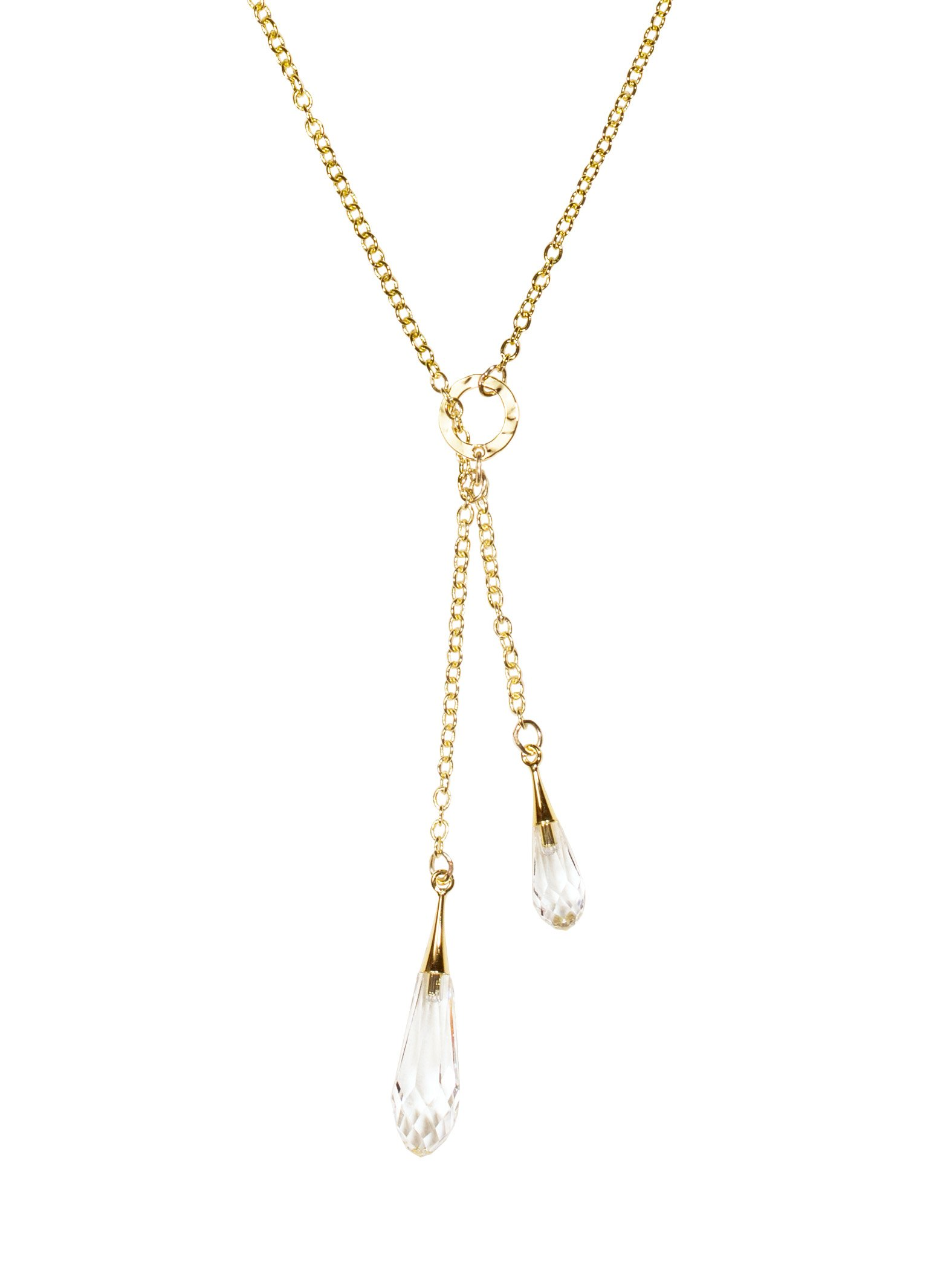 Holly Yashi Rain Drop Larait Necklace, Hypoallergenic Jewelry, Made in California (Clear/Gold)