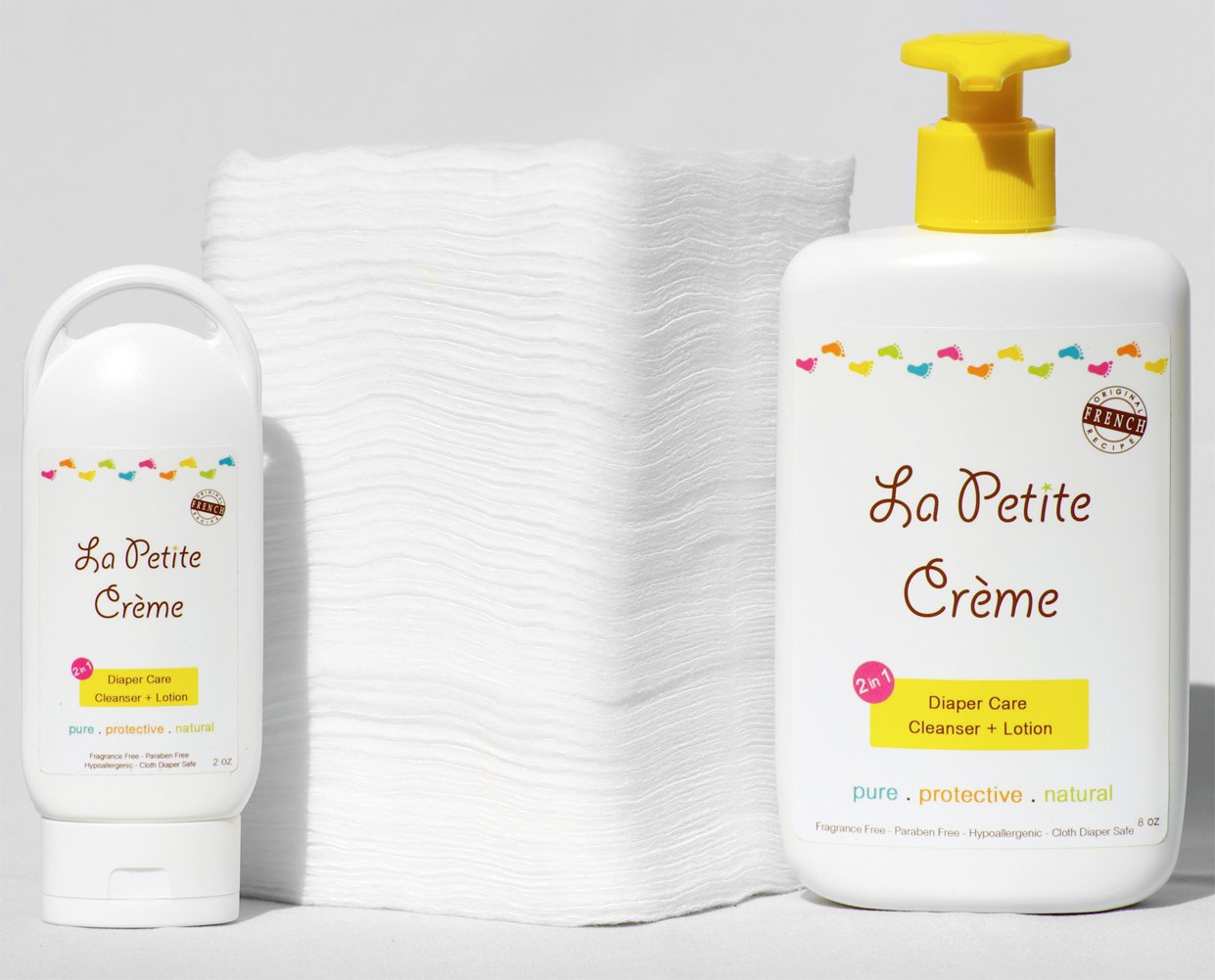 La Petite Creme - French Diapering LotionAlternative To Baby Wipes Liniment (Starter Kit with Cotton Pads)